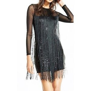 LADIES EXPRESS FRINGE SEQUIN MINI DRESS sz 2